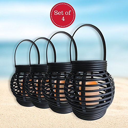 BANBERRY DESIGNS Lantern Set - Pack of 4 Round Rattan Style Lanterns with Flameless Candle - 5 Hour Timer ()
