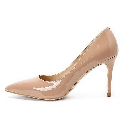 8fccc6287 Mujer Zapatos de Aguja Alto Tacon Nude Patente Cuero High Heels Clasico  Punta Cerrado Para Fiesta