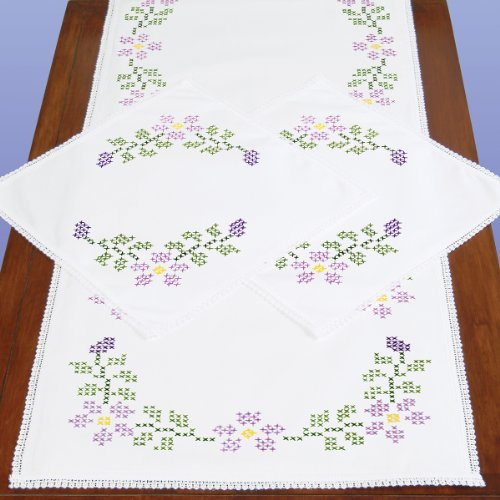 Lace Scarf Kit (Jack Dempsey Stamped Dresser Scarf and Doilies Lace Edge, XX Starflowers)