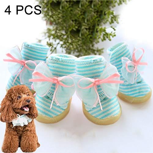 Hc3157l Pet Supplies 4 PCS Bowknot Stripe shoes Wear-Resistant Anti-Slip Pet Dog shoes, Length  3.6cm, Width  2.8cm, Random color and Style Delivery (Size   Hc3157l)