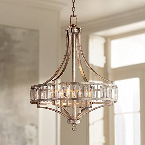 Antique Soft Silver Chandelier 24″ Wide Crystal Glass 4-Light Fixture