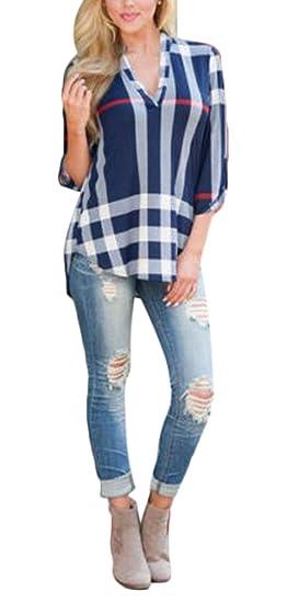 Camisas Mujer Manga Larga Originales Tallas Grandes Tops A Cuadros Fiesta Fashionista Elegantes Blusones V Cuello