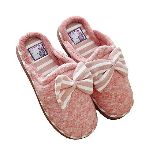 Btrada Cosy Striped Bowknot Cotton Slippers - Cálido Par Zapatillas De Invierno Para El Hogar / Dormitorio Rojo