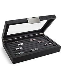 Cufflink Box for Men - Holds 70 Cufflinks - Luxury Display Jewelry Case -Carbon Fiber Design - Metal Buckle Holder, Large Glass Top - Black