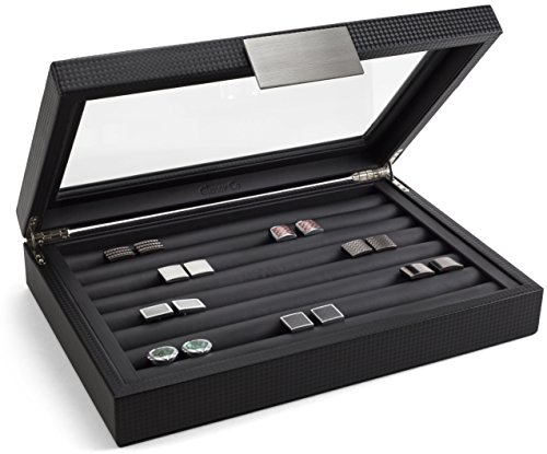 Glenor Co Cufflink Box for Men – Holds 70 Cufflinks – Luxury Display Jewelry Case -Carbon Fiber Design – Metal Buckle…