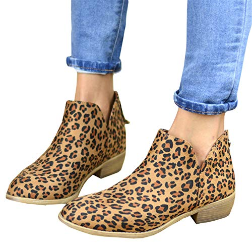 (Womens V Cut Ankle Boots Chunky Pointed Toe Stacked Block Low Heel Zip Booties)