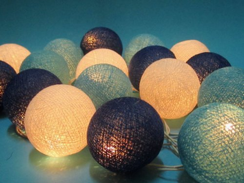 cotton ball string lights blue - 5