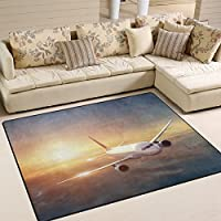 LORVIES Airplane In The Sky At Sunset Area Rug Carpet Non-Slip Floor Mat Doormats for Living Room Bedroom 63 x 48 inches