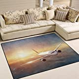 Cheap LORVIES Airplane In The Sky At Sunset Area Rug Carpet Non-Slip Floor Mat Doormats for Living Room Bedroom 80 x 58 inches