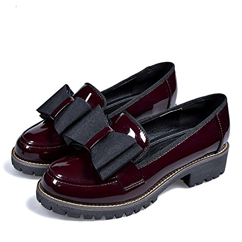 LANSHULAN Womens Juniors Slip On Oxfords Shoes Flats Plus Size 34-42 Wine Red 1jGwTa