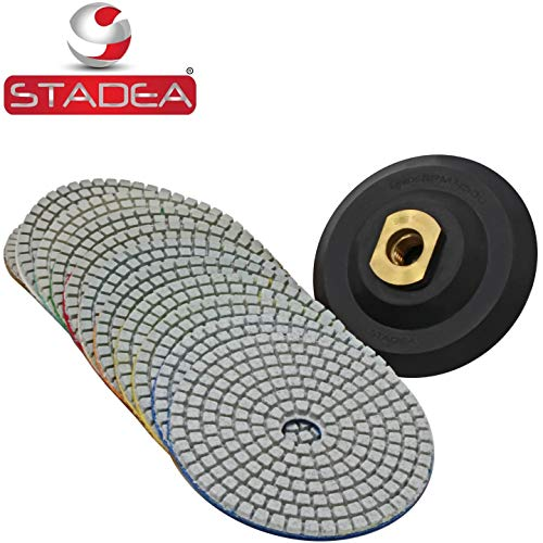 Stadea PPW182E Diamond Polishing Pads 4 Inch Wet Dry Set for Granite Quartz Concrete Marble Stone Countertop Polishing