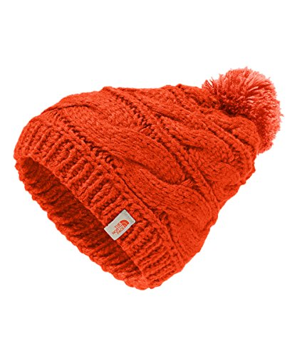 The North Face Women's Triple Cable Pom Beanie - fire brick red/nasturtium (Beanie Face Lightweight The North)