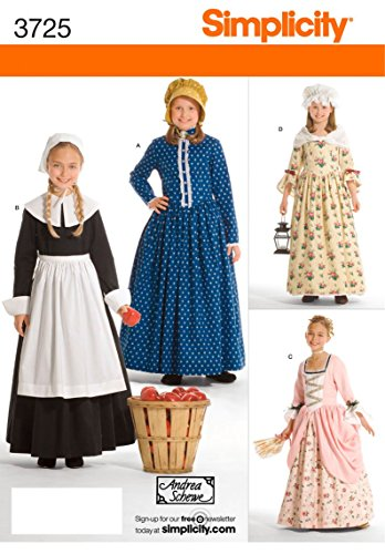 Simplicity Historical Dresses Sewing Pattern Costumes for Girls by Andrea Schewe, Sizes 7-14