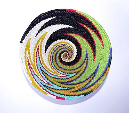 African Zulu woven telephone wire bowl – Medium round - Multicolour