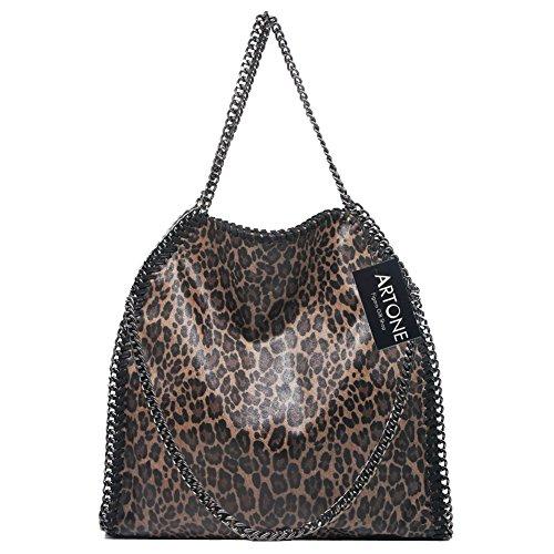 Artone De Las Mujeres Pu Casual Chain Totalizador Bolsa De Hombro Con Pelota de Piel Negro Bolso de hombro de leopardo marrón