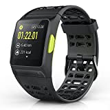 Nasion.V Smart Watch P1 Fitness Tracker Activity Heart Rate Monitor HRV Analysis Pedometer Sleep Steps Tracker with Multi-Sports Modes IP68 Waterproof Bluetooth GPS Running Watch - Black