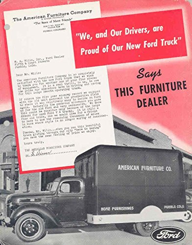 Amazon Com 1941 Ford Furniture Truck Brochure Pueblo Colorado