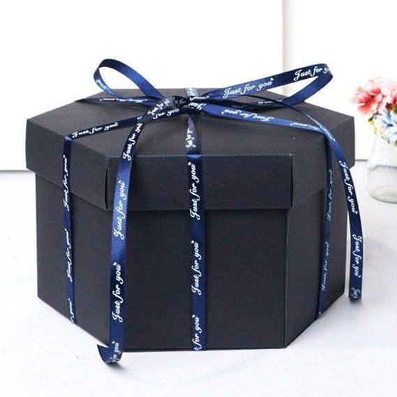 Caja de explosión sorpresa DIY caja de regalo álbum de fotos álbum de recortes para San Valentín boda regalo álbum de papel cumpleaños álbum de recortes caja de boda, negro, talla única: