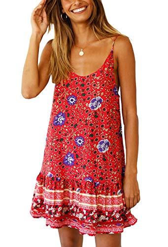 KIRUNDO Women's 2019 Summer Spaghetti Strap Round Neck Adjustable Loose Bohemia Floral Printed Swing Mini Dress (Small, Red)