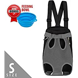 Dog Carrier | Comfortable Legs Out Front Pet Carrier Backpack with Tail Hole | Traveling Dog Cat Pet Bag for Hiking Camping with Adjustable Strap and Inner Collar | Machine Washable | Vibrant Grey S