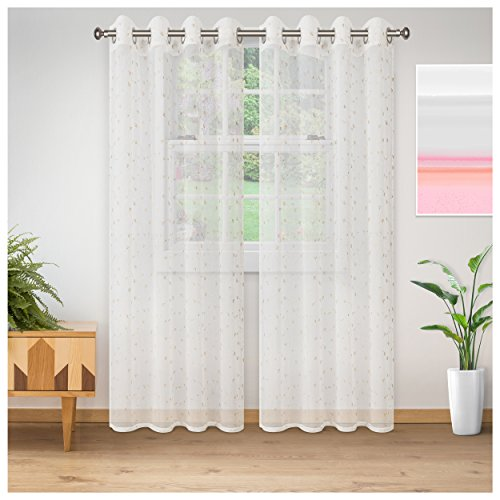 Superior Quality Lightweight Embroidered Delicate Flower Sheer Stainless Grommets Window Treatment Curtain Panel (Set of 2) 52