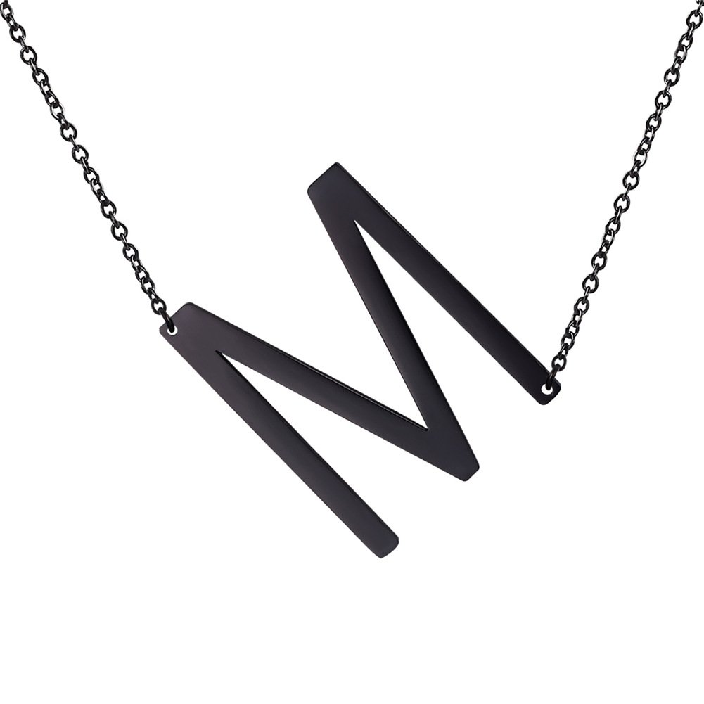 U7 Sideways Large Initial Necklaces for Women Monogram Style Jewelry Stainless Steel Black Plated Letter Necklace (M)