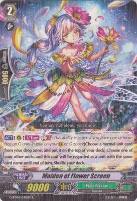 Cardfight!! Vanguard TCG - Maiden of Flower Screen (G-BT04/042EN) - G Booster Set 4: Soul Strike Against The - Nectar Deals Card