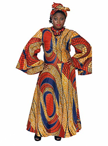 African Planet Cotton Dress Headwrap Ghana Tie Bell Sleeves Africa Wrap Around by African Planet