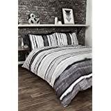 TIE DYED-STYLE GRADED STRIPES BLACK GREY WHITE COTTON BLEND CANADIAN QUEEN SIZE (COMFORTER COVER 230 X 220 - UK KING SIZE) (PLAIN BLACK FITTED SHEET - 152 X 200CM + 25 - UK KING SIZE) PLAIN BLACK HOUSEWIFE PILLOWCASES 6 PIECE BEDDING SET