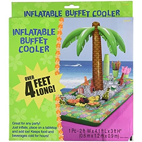 Amscan Perfect Hawaiian Luau Inflatable Palm Tree Buffet Cooler Party Supplies 3 3 Pieces