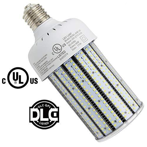 80W LED Corn Light Bulb 5000k Crystal White,Large E39 Mogul Base,Replace 400Watt HID/CFL/HPS,Flood Light Street/Area Lighting 320watt Metal Halide Retrofit (80)