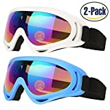 Ski Goggles, Pack of 2, Skate Glasses for Kids, Boys & Girls, Youth, Men & Women, with UV 400 Protection, Wind Resistance, Anti-Glare Lenses, made by COOLOO, Blue / White