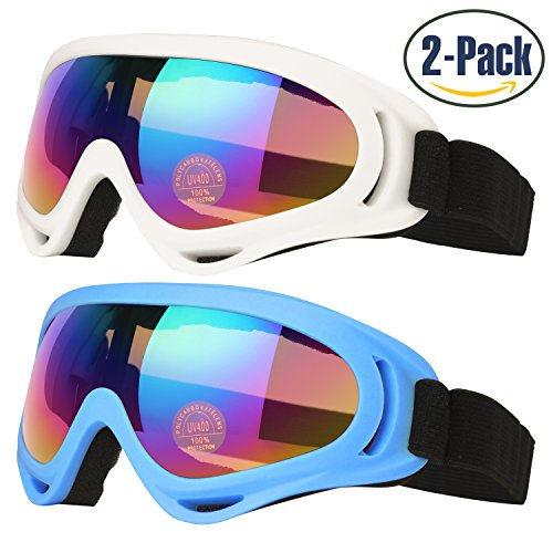 Ski Goggles, Pack of 2, Skate Glasses for Kids, Boys & Girls, Youth, Men & Women, with UV 400 Protection, Wind Resistance, Anti-Glare Lenses, made by COOLOO, Blue / - Snow Glare