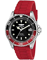 Invicta Mens Pro Diver Automatic Stainless Steel and Silicone Diving Watch, Color:Red (Model: 23680)