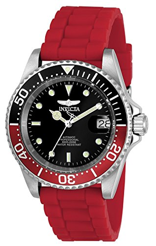 Invicta Men's 'Pro Diver' Automatic Stainless Steel and Silicone Diving Watch, Color:Red (Model: 23680) Watch Pro Wind Meter