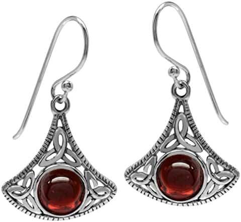 Cabochon Garnet 925 Sterling Silver Triquetra Celtic Knot Dangle Earrings