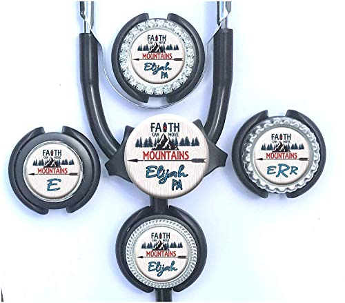 Faith Can Move Mountains Stethoscope Id Tag Personalized Name Adjustable Nurse Identification Gift Fits Cardiology and Standard Steth ()