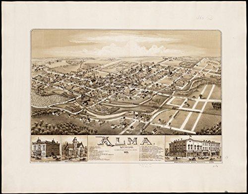1885 Map (Historic Map | Alma, Michigan : 1885 | Antique Vintage Reproduction)