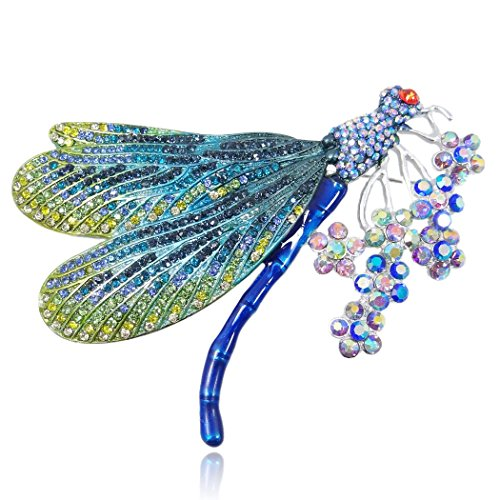 EVER FAITH Women's Austrian Crystal Enamel Colorful Bouquet Insect Dragonfly Brooch Blue Silver-Tone ()