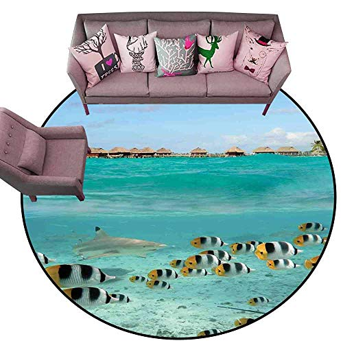 Non Slip Door Mat for Front Door Ocean,Blacktip Reef Shark Chasing Butterfly Fish Lagoon of Bora Bora Tahiti,Aqua Yellow and Black Diameter 78