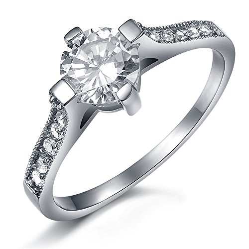 JSDY Stainless Steel Luxury High Polished 2mm Cubic Zirconia Rings for Women Size 6