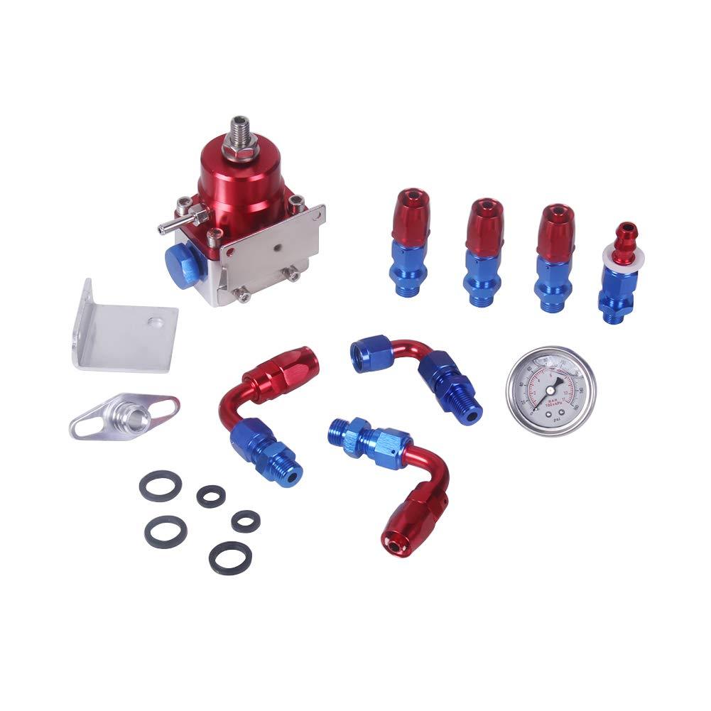 Ahomi Universal Adjustable Fuel Pressure Regulator Kit 100psi Gauge AN 6 Fitting
