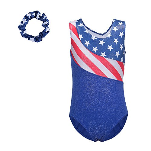 Toddlers Stars and Stripes Spliced Sparkle Athletic Ballet Gymnastics Long Sleeve Leotards for Girls 5-14 Years (6A(Recommended age 5-6Y), US+Scrunchie)