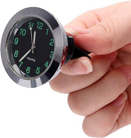 Garneck Auto Uhr Leuchtend Rund Quarz Analog Armaturenbrett Uhr Universal Tasche Mini Tisch Timer Auto Interieur Ornament Schwarz Wei/ß