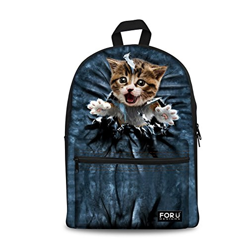 FOR U DESIGNS Cute Happy Cat Lightweight Book Bag School Backpack for Young Teens