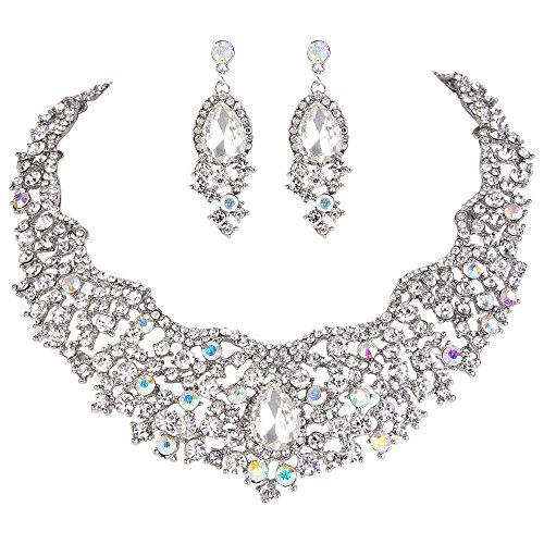 EVER FAITH Crystal Flower Cluster Teardrop Necklace Earrings Set Iridescent Clear AB Silver-Tone