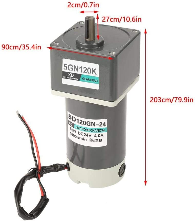 DC 24V 7A 120W 3000rpm 4.8kgf.cm CW//CCW Less Noise Adjustable Rate Permanent Magnet Gear Motor for Home Devices Industrial Applications ZYL-YL Gear Motor 120K