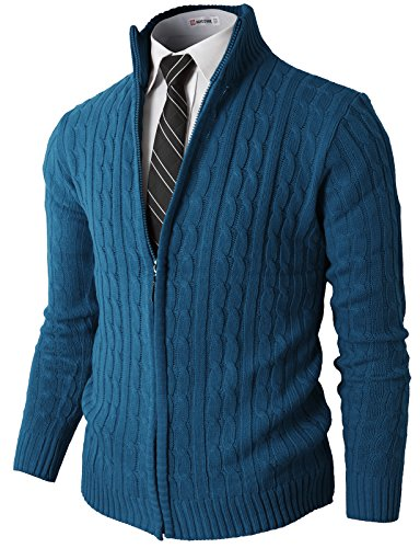 H2H Mens Slim Fit Full-Zip Kintted Cardigan Sweaters with Twist Patterned Blue US 2XL/Asia 3XL (KMOCAL032)