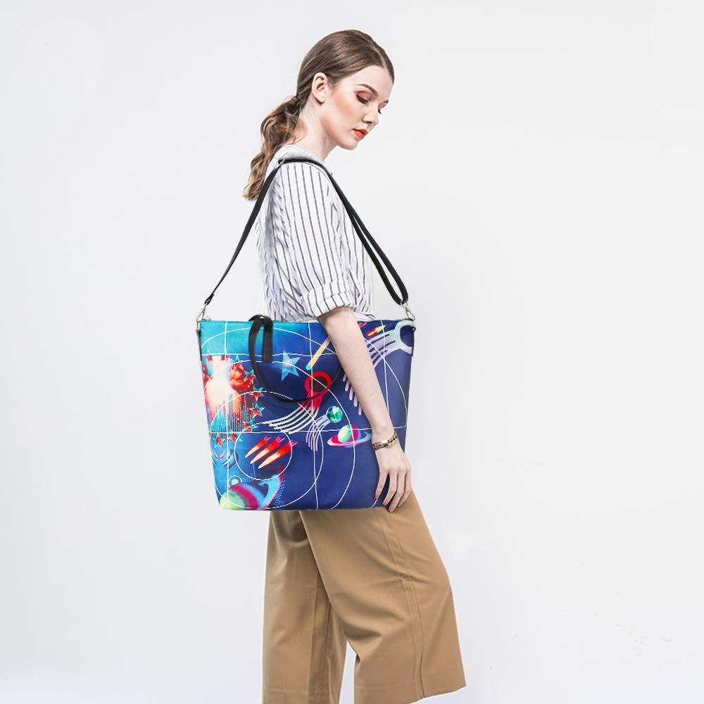 BB brotrade tygväska för kvinnor, 15,6 tum stor bärbar dator tygväska med dragkedja, hållbar, skrynkelbeständig handtag väska handväska för arbete shopping resor och strand BLÅ