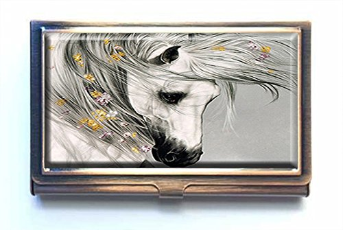 Caikem Abstract Horse Custom Personalized Stainless Steel Bronze Business Card Holder Pocket Business Name Credit Card ID Card Wallet